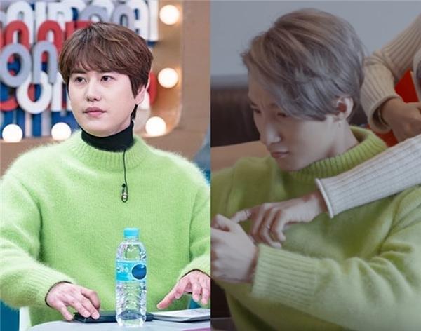 Kyu-hyun - thành viên út của Super Junior mang chiếc áo giá 175 nghìn won (khoảng 4 triệu đồng)lên sóng truyền hình phối cùng áo phông cổ lọ bên trong.