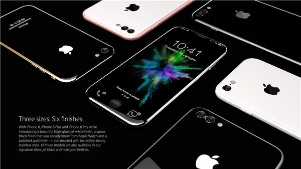 iPhone 8 sẽ có 3 kích cỡ khác nhau gồm iPhone 8, iPhone 8 Plus và iPhone 8 Pro với 6 màu sắc.