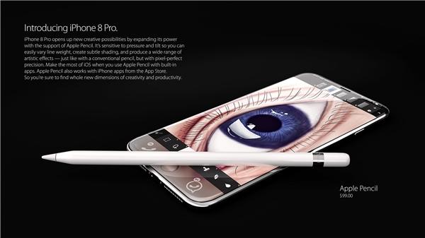 iPhone 8 sẽ kèm theo bút cảm ứng Apple Pencil với giá bán 99 USD.