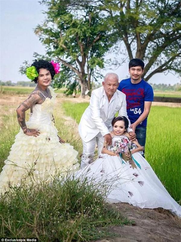 """Nhờ sự hỗ trợ của công ty tiệc cưới, đôi vợ chồng """"đũa lệch"""" đã có một đám cưới mà họ chưa từng dám mơ tới.(Ảnh: Daily Mail)"""
