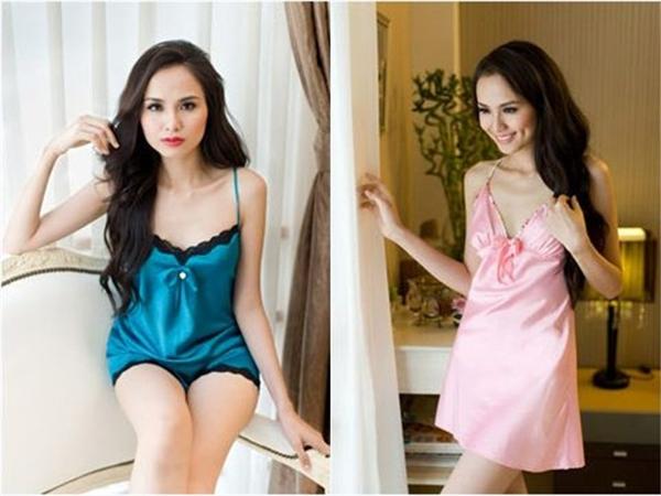 Làn da trắng hồng của Hoa hậu Diễm Hương được tôn lên nhờ chất liệu lụa mềm mại kết hợp màu sắc nhã nhặn.