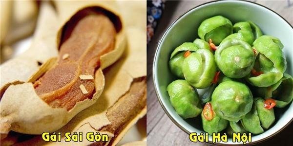 Đã là con gái thì cô nào mà chẳng mê ăn vặt, thế nhưng con gái Sài Gòn thường thích ăn me ngọt, còn con gái Hà Nội thì lại thích ăn sấu xanh.