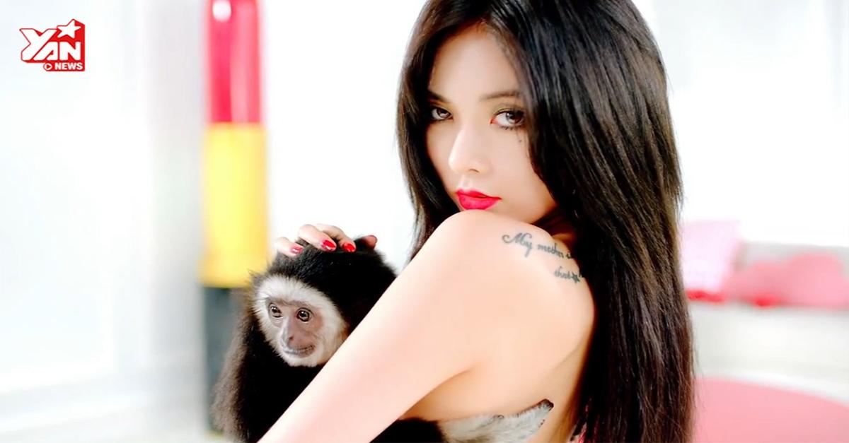 [Teaser] HyunA ngực trần ôm khỉ trong teaser MV mới