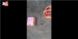 Kinh hoàng clip đốt khô mực tẩm làm bằng cao su