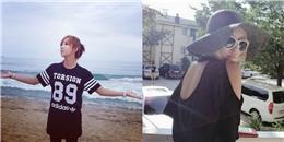 [Mlog Sao] Minzy khoe hình trước biển, Hyomin đội nón rộng vành cực ngầu