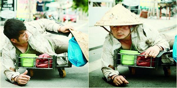 Bằng Kiều mặc đồ ăn xin bò lê trên phố