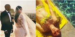 Kim và Kanye khoe ảnh cưới, Emmy Rossum thư thái đi tắm nắng