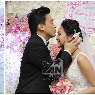 Lam Trường say đắm hôn Yến Phương trong tiệc cưới
