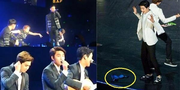 Fan phấn khích ném đồ lót vào người EXO-K và B.A.P