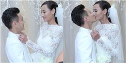 Lê Thúy chỉnh áo và hôn chồng thắm thiết trước lễ cưới