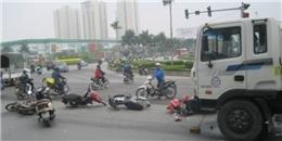 Xe bồn chở xăng mất phanh tông liên hoàn vào gần chục xe máy