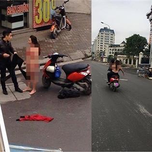 Xôn xao vì cô gái thản nhiên cởi đồ giữa phố ở Hà Nội