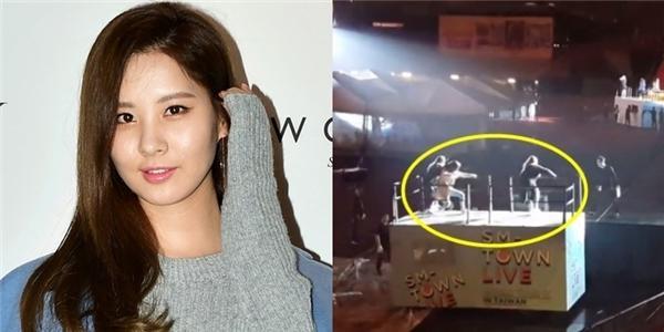 """Fan lo """"sốt vó"""" khi Seohyun té ngã trong lúc tổng duyệt chương trình"""