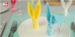 Trang trí bàn ăn bằng khăn giấy hình thỏ xinh ơi là xinh