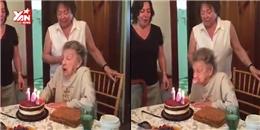 Cụ bà 102 tuổi thổi nến sinh nhật... bay cả răng giả