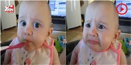 Em bé  hốt hoảng  khi lần đầu tiên được ăn bơ