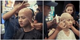 Cận cảnh Thanh Duy và Ái Phương mạo hiểm 'cạo đầu'