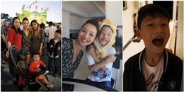 Bé Bảo Nam sung sướng khi được gặp lại mẹ Jennifer Phạm và em gái