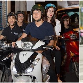 Thích thú với hình ảnh sao Việt giản dị đi xe máy