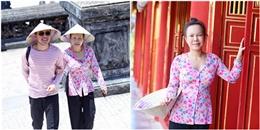 Việt Hương khoe mặt mộc, đội nắng đi du lịch cùng Trấn Thành