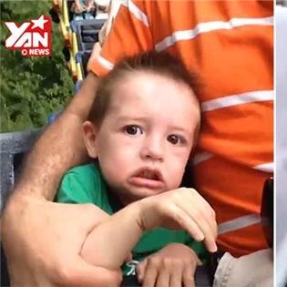 Biểu cảm  khó đỡ  của các bé khi lần đầu đi tàu lượn