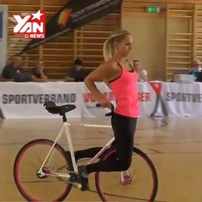 Thót tim với màn xiếc xe đạp độc nhất vô nhị của hot girl