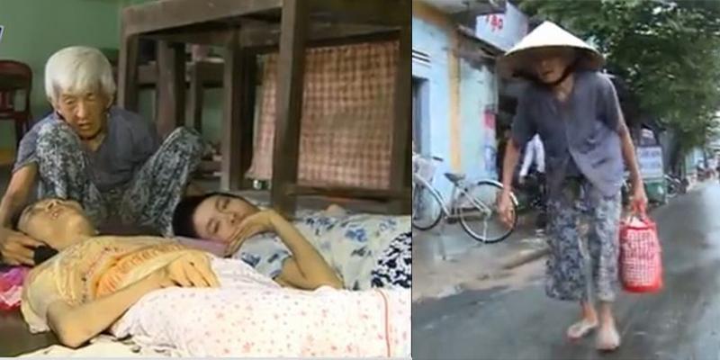 Trào nước mắt với clip cụ bà nuôi 2 đứa con bị bại liệt