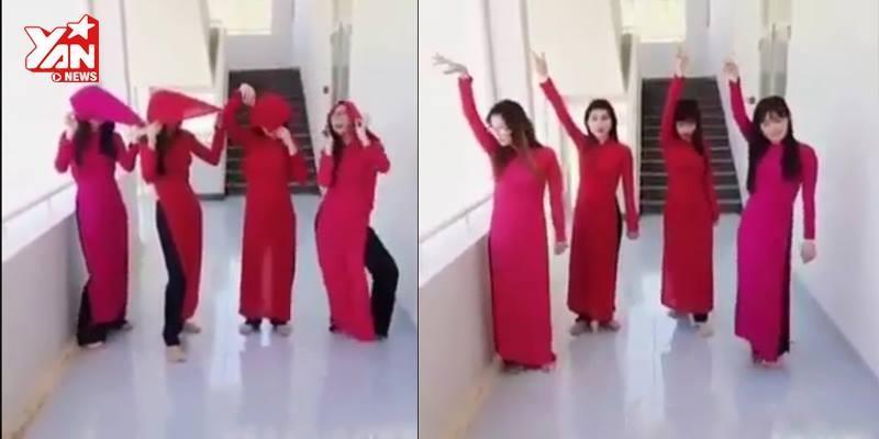 Cười té ghế  với độ chịu chơi của 4 nữ sinh áo dài đỏ