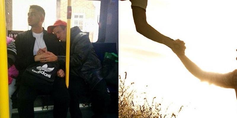 Ấm lòng cái nắm tay của hai người đàn ông xa lạ trên xe buýt