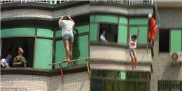 Hồi hộp cảnh giải cứu cô gái trẻ nhảy lầu tự tử vì tình