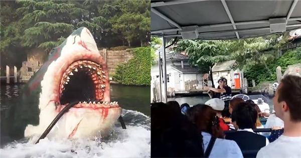 Màn trình diễn 'cá mập cắn cáp' tại công viên Nhật Bản