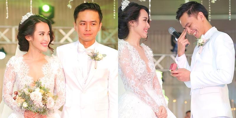 Văn Anh rơi nước mắt hạnh phúc khi trao nhẫn cưới cho Tú Vi