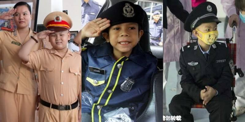 Những cậu bé ung thư được thỏa ước mơ làm cảnh sát
