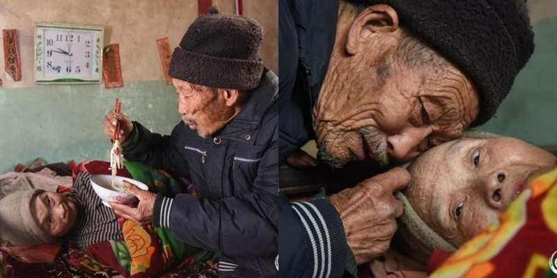 Cảm động cụ ông chăm sóc vợ bị liệt suốt 56 năm