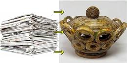 Tận dụng giấy báo làm chiếc hũ chứa đồ linh tinh cực hay