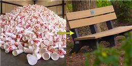 Ghế ngồi được làm từ những chiếc li nhựa tái chế độc đáo