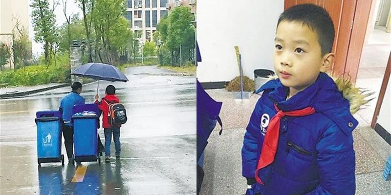 Cảm động cậu bé 7 tuổi che ô, kéo rác cho người lao công giữa trời mưa gió
