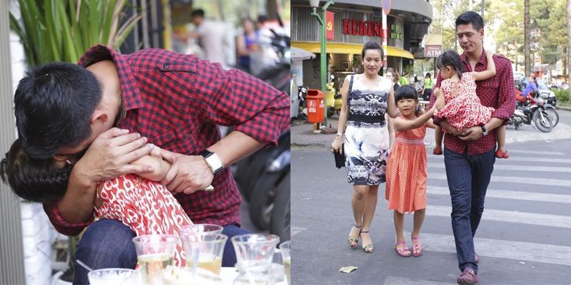 Bình Minh ghì chặt con gái út vào lòng ôm hôn đầy hạnh phúc