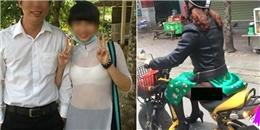 Thảm họa áo dài 'quên' mặc quần thản nhiên phóng xe trên phố