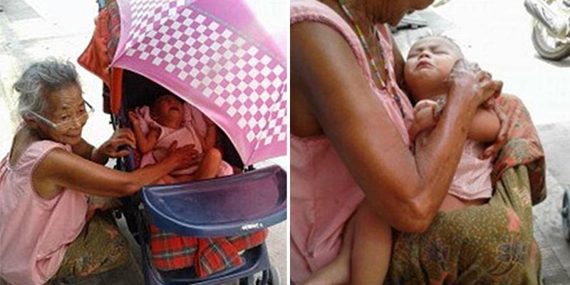 Xúc động hình ảnh cụ già đưa cháu nhỏ đi xin sữa vào giữa trưa nắng