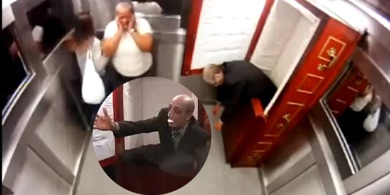 Rợn da gà với màn chơi khăm quan tài bật nắp trong thang máy