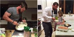 'Thần sấm Thor' tự tay nướng bánh 'so cute' cho con gái
