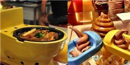Ngỡ ngàng với nhà hàng phục vụ đồ ăn thức uống trong... bồn cầu