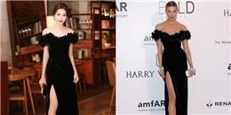 Váy 'nhái' của Thu Thảo đụng hàng cựu thiên thần nội y tại Cannes