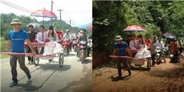 Tranh cãi màn rước dâu bằng xe người kéo ở Thanh Hoá