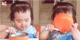 Cận cảnh bé gái háu ăn đáng yêu làm 'liêu xiêu' dân mạng