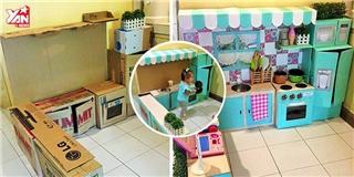 Ngất ngây  trước căn bếp đáng yêu được làm từ hộp giấy