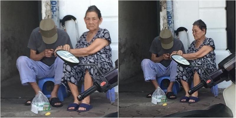 Ngưỡng mộ cặp vợ chồng già ân cần chăm sóc nhau nơi góc đường