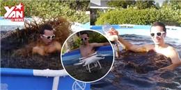 Thanh niên tắm hồ bơi 5500 lít nước ngọt, hi sinh cả camera nghìn USD