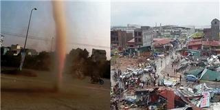 Vòi rồng bất ngờ xuất hiện ở Bắc Ninh gây hậu quả kinh hoàng